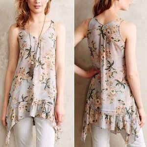 Anthro Maeve | Sheer Floral Magda Tunic
